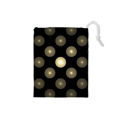 Gray Balls On Black Background Drawstring Pouches (Small)