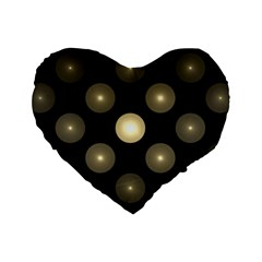 Gray Balls On Black Background Standard 16  Premium Flano Heart Shape Cushions