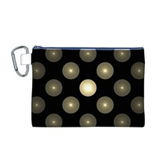 Gray Balls On Black Background Canvas Cosmetic Bag (M)