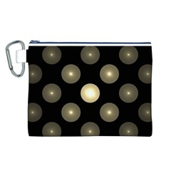 Gray Balls On Black Background Canvas Cosmetic Bag (L)