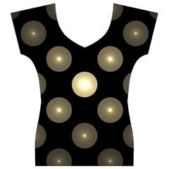 Gray Balls On Black Background Women s V-Neck Cap Sleeve Top