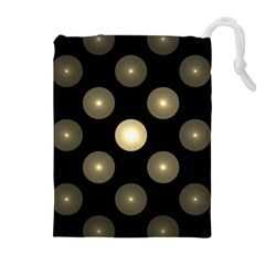 Gray Balls On Black Background Drawstring Pouches (extra Large)