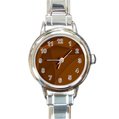 Brown Background Waves Abstract Brown Ribbon Swirling Shapes Round Italian Charm Watch