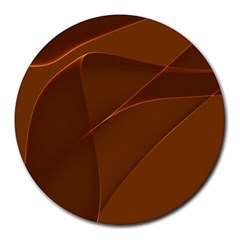 Brown Background Waves Abstract Brown Ribbon Swirling Shapes Round Mousepads