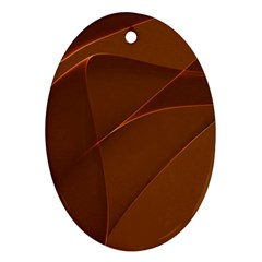 Brown Background Waves Abstract Brown Ribbon Swirling Shapes Ornament (oval)
