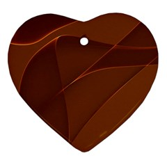 Brown Background Waves Abstract Brown Ribbon Swirling Shapes Ornament (heart)