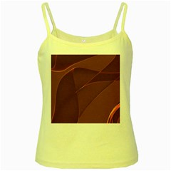 Brown Background Waves Abstract Brown Ribbon Swirling Shapes Yellow Spaghetti Tank
