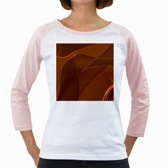 Brown Background Waves Abstract Brown Ribbon Swirling Shapes Girly Raglans