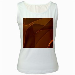 Brown Background Waves Abstract Brown Ribbon Swirling Shapes Women s White Tank Top