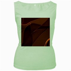 Brown Background Waves Abstract Brown Ribbon Swirling Shapes Women s Green Tank Top