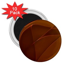 Brown Background Waves Abstract Brown Ribbon Swirling Shapes 2 25  Magnets (10 Pack)