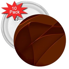 Brown Background Waves Abstract Brown Ribbon Swirling Shapes 3  Buttons (10 pack)