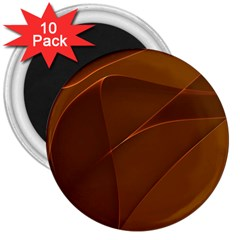 Brown Background Waves Abstract Brown Ribbon Swirling Shapes 3  Magnets (10 Pack)