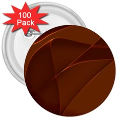 Brown Background Waves Abstract Brown Ribbon Swirling Shapes 3  Buttons (100 pack)