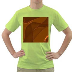 Brown Background Waves Abstract Brown Ribbon Swirling Shapes Green T Shirt