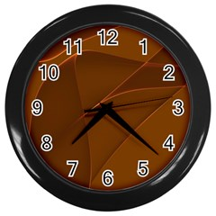 Brown Background Waves Abstract Brown Ribbon Swirling Shapes Wall Clocks (Black)