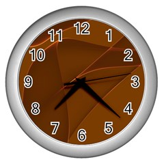 Brown Background Waves Abstract Brown Ribbon Swirling Shapes Wall Clocks (Silver)