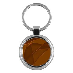 Brown Background Waves Abstract Brown Ribbon Swirling Shapes Key Chains (round)