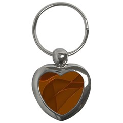 Brown Background Waves Abstract Brown Ribbon Swirling Shapes Key Chains (Heart)