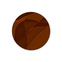 Brown Background Waves Abstract Brown Ribbon Swirling Shapes Rubber Coaster (round)
