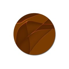 Brown Background Waves Abstract Brown Ribbon Swirling Shapes Magnet 3  (round)
