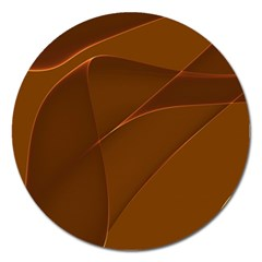 Brown Background Waves Abstract Brown Ribbon Swirling Shapes Magnet 5  (round)