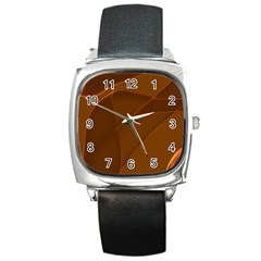 Brown Background Waves Abstract Brown Ribbon Swirling Shapes Square Metal Watch