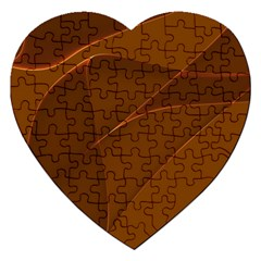 Brown Background Waves Abstract Brown Ribbon Swirling Shapes Jigsaw Puzzle (heart)