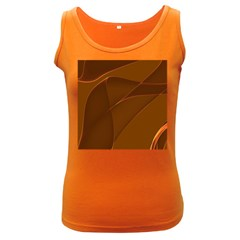 Brown Background Waves Abstract Brown Ribbon Swirling Shapes Women s Dark Tank Top