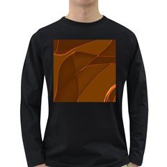 Brown Background Waves Abstract Brown Ribbon Swirling Shapes Long Sleeve Dark T-Shirts