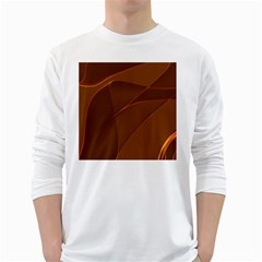 Brown Background Waves Abstract Brown Ribbon Swirling Shapes White Long Sleeve T-Shirts