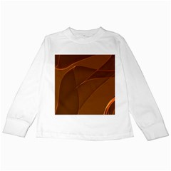 Brown Background Waves Abstract Brown Ribbon Swirling Shapes Kids Long Sleeve T-Shirts