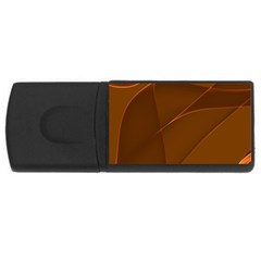 Brown Background Waves Abstract Brown Ribbon Swirling Shapes Usb Flash Drive Rectangular (4 Gb)