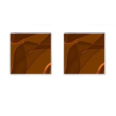 Brown Background Waves Abstract Brown Ribbon Swirling Shapes Cufflinks (square)