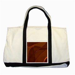 Brown Background Waves Abstract Brown Ribbon Swirling Shapes Two Tone Tote Bag