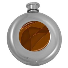 Brown Background Waves Abstract Brown Ribbon Swirling Shapes Round Hip Flask (5 Oz)