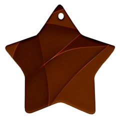 Brown Background Waves Abstract Brown Ribbon Swirling Shapes Star Ornament (Two Sides)