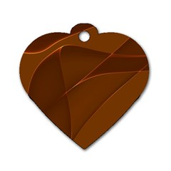 Brown Background Waves Abstract Brown Ribbon Swirling Shapes Dog Tag Heart (One Side)