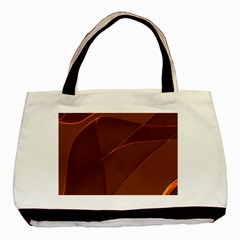 Brown Background Waves Abstract Brown Ribbon Swirling Shapes Basic Tote Bag (Two Sides)