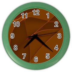 Brown Background Waves Abstract Brown Ribbon Swirling Shapes Color Wall Clocks