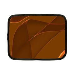 Brown Background Waves Abstract Brown Ribbon Swirling Shapes Netbook Case (Small)