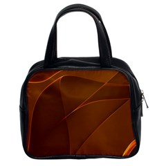 Brown Background Waves Abstract Brown Ribbon Swirling Shapes Classic Handbags (2 Sides)