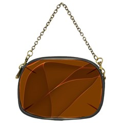 Brown Background Waves Abstract Brown Ribbon Swirling Shapes Chain Purses (Two Sides)