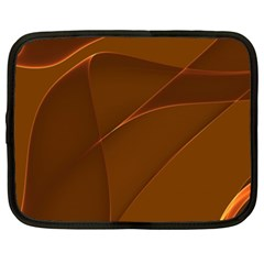 Brown Background Waves Abstract Brown Ribbon Swirling Shapes Netbook Case (xxl)