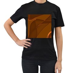 Brown Background Waves Abstract Brown Ribbon Swirling Shapes Women s T-Shirt (Black)