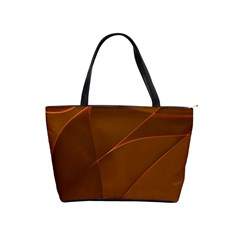 Brown Background Waves Abstract Brown Ribbon Swirling Shapes Shoulder Handbags