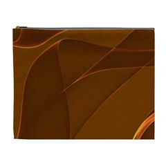 Brown Background Waves Abstract Brown Ribbon Swirling Shapes Cosmetic Bag (xl)