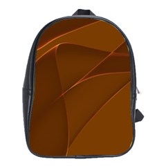 Brown Background Waves Abstract Brown Ribbon Swirling Shapes School Bags(large)