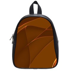 Brown Background Waves Abstract Brown Ribbon Swirling Shapes School Bags (Small)