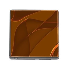 Brown Background Waves Abstract Brown Ribbon Swirling Shapes Memory Card Reader (square)